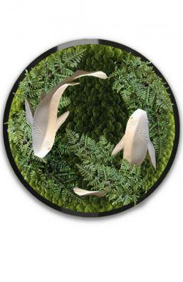 Круглая  фитокартина из искусственных растений