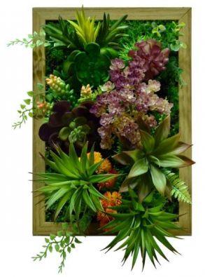 Картина из искусственных суккулентов и травы