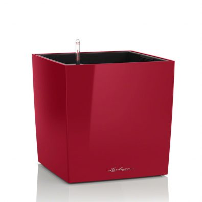 Кашпо Lechuza Cube красное глянцевое